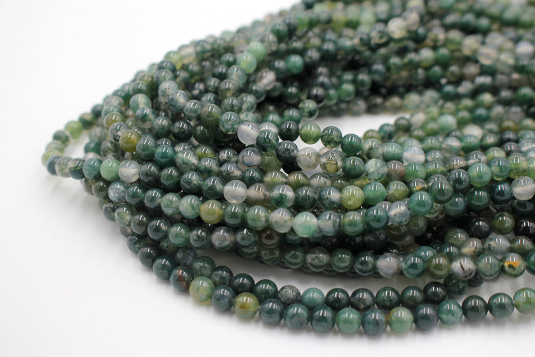6mm moss agate gemstone beads