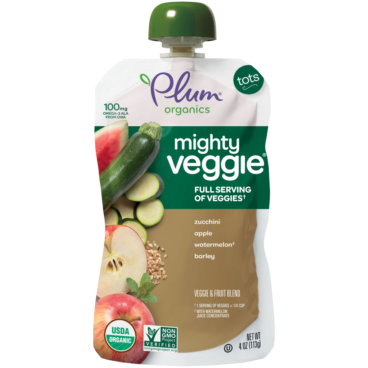 Plum Organics Mighty Veggie® Zucchini, Apple, Watermelon & Barley