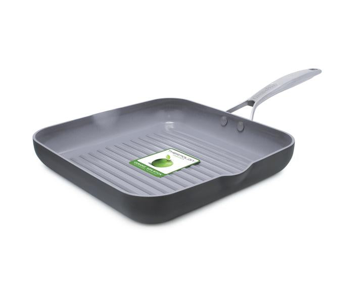 Green Pan Paris Pro Ceramic Non-Stick Square Grill Pan with Spouts, 11-Inch