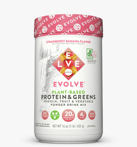 Evolve Plant Based Protein Powder and Greens Strawberry Banana