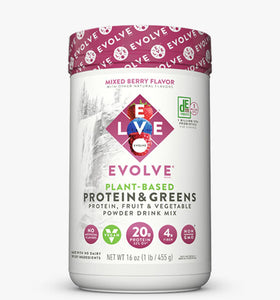 Evolve Plant Based Protein Powder and Greens Mixed Berry