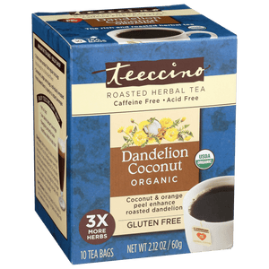 Teecino Organic Dandelion Coconut Roasted Herbal Tea Bags