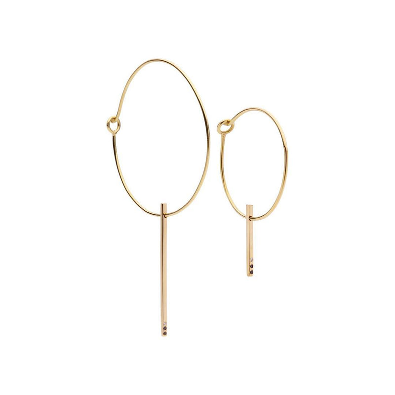 CLASSIC Small Hoop Large Hoop Pair 18Ct Gold with Diamonds