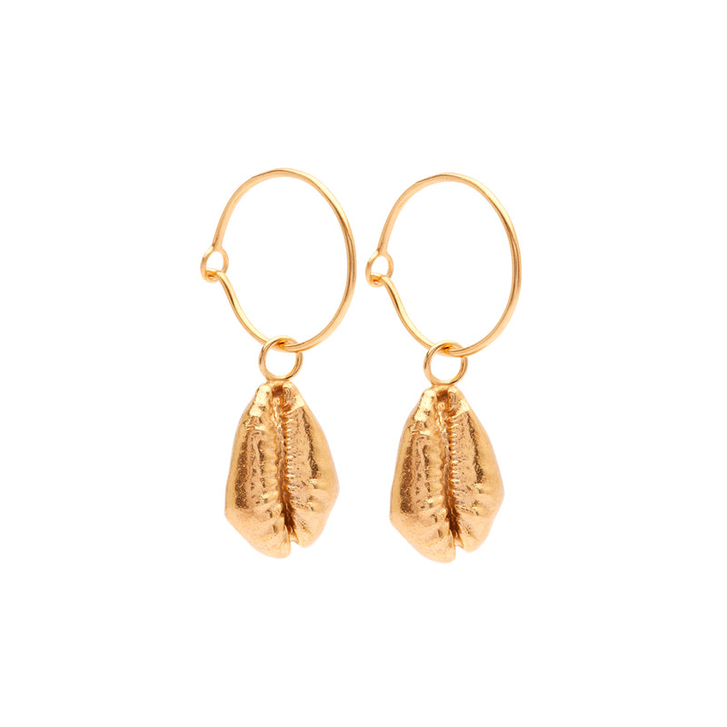OCEANIA Cowrie Hoops 18Ct Gold Plated