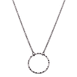 The Classic 18Ct Gold Circle Necklace Black with Diamonds