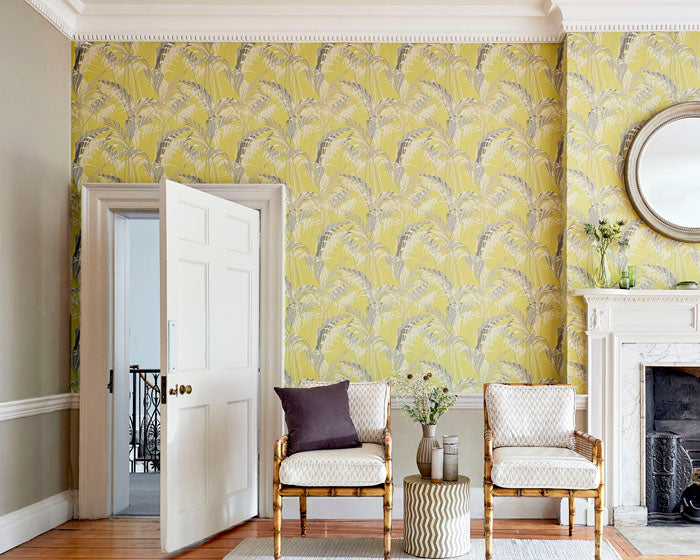 Create impact in an period home with bright tropical wallpaper