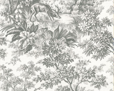 Little Greene Stag Toile Moss 0248SGMOSSZ Wallpaper