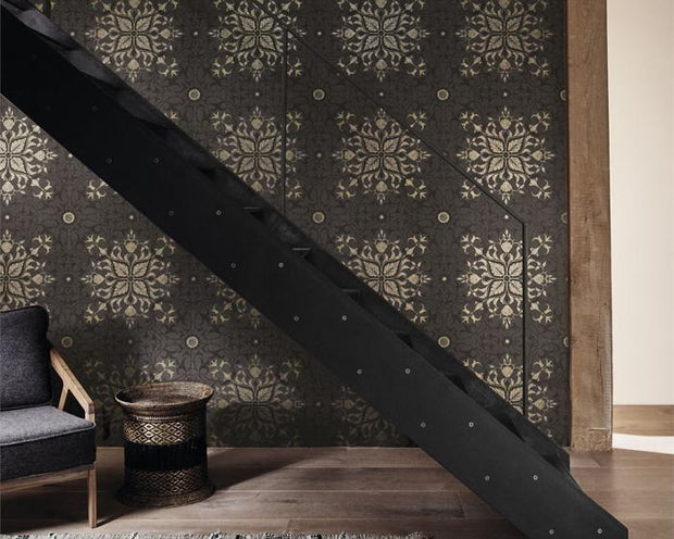 Morris & Co Net Ceiling Charcoal/Gold 216036 Wallpaper