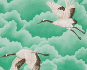 Harlequin Cranes In Flight Emerald 111233 Wallpaper