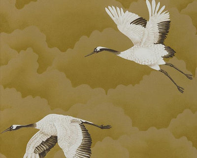 Harlequin Cranes In Flight Antique Gold 111235 Wallpaper