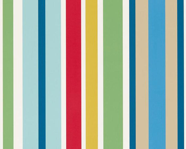 Scion Jelly Tot Stripe Pimento/Grass/Denim 111261 Wallpaper