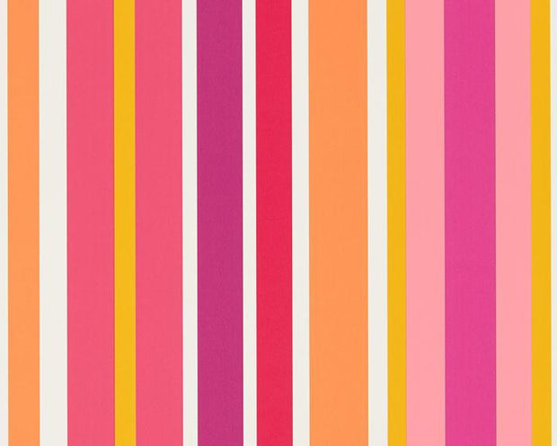 Scion Jelly Tot Stripe Raspberry/Blancmange 111265 Wallpaper