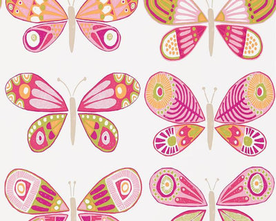Scion Madame Butterfly Cerise/Pistachio/Chalk 111267 Wallpaper