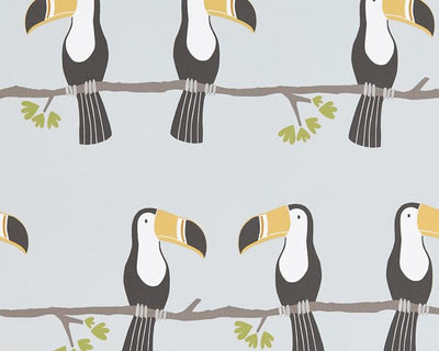 Scion Terry Toucan Tangerine/Charcoal/Maize 111270 Wallpaper