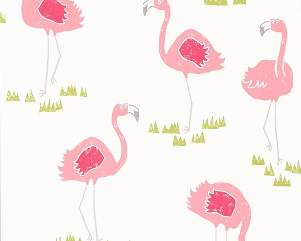 Scion Felicity Flamingo Blancmange/Chalk 111277 Wallpaper