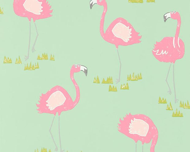 Scion Felicity Flamingo Raspberry/Pistachio 111278 Wallpaper