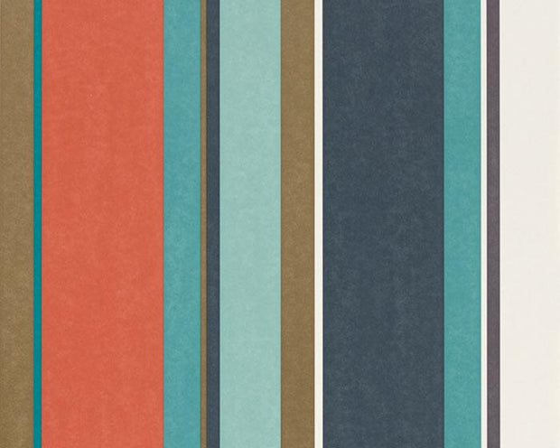 Harlequin Bella Stripe Coral/Gold/Turquoise 111506 Wallpaper