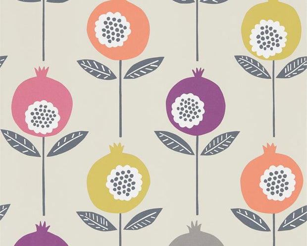 Scion Pepino Bilberry/Dijon/Rhubarb 111545 Wallpaper