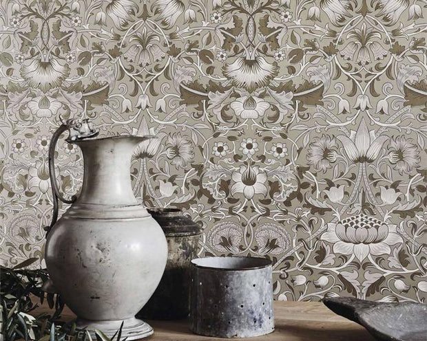 Morris & Co Lodden Charcoal/Gold 216027 Wallpaper