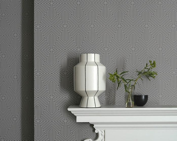 Paint & Paper Library Marquetry Tile Slate V Wallpaper