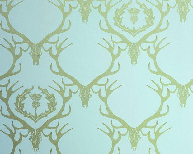 Barneby Gates Deer Damask in Duck Egg Blue Wallpaper BG0100401
