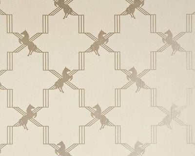 Barneby Gates Horse Trellis in Metallic Stone Wallpaper BG0500202