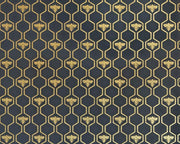 Barneby Gates Honey Bees in Charcoal/Gold Wallpaper BG0700201