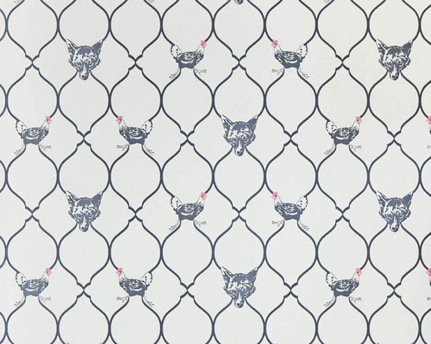 Barneby Gates Fox & Hen in Charcoal on Parchment Wallpaper BG0900102