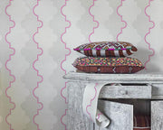Barneby Gates Jigsaw Stripe in Pink Wallpaper BG1800201