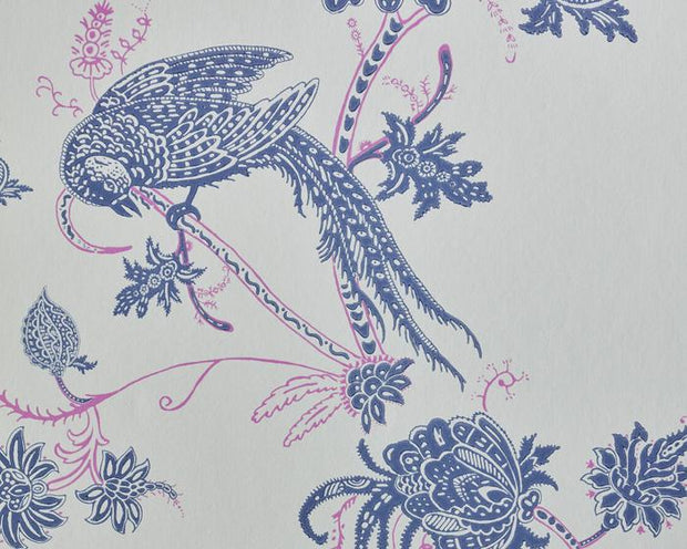 Barneby Gates Vintage Bird Trail in Blue/Pink Wallpaper BG2000101