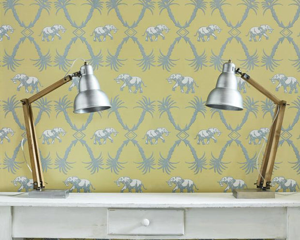 Barneby Gates Elephant Palm in Ochre/Blue Wallpaper BG2100201