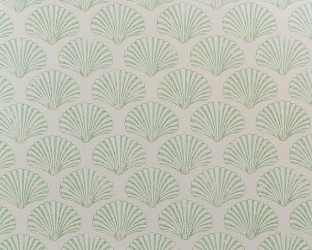 Barneby Gates Scallop Shell in Plaster/Green Wallpaper BG2100102