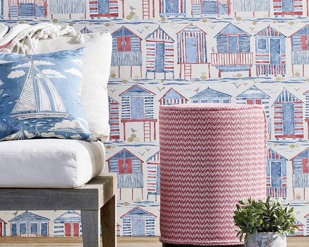 Sanderson Beach Huts Nautical 216559 Wallpaper