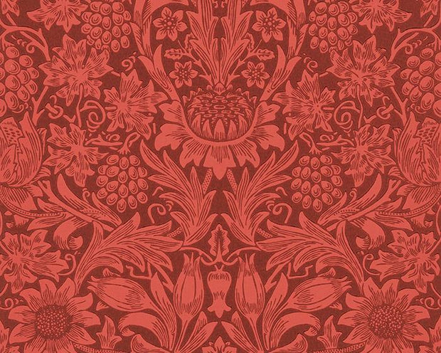 Morris & Co Sunflower Chocolate/Red 216960 Wallpaper