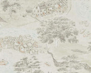 Sanderson Sea Houses Charcoal/Linen 216489 Wallpaper