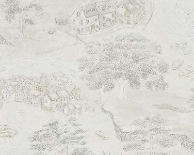 Sanderson Sea Houses Chalk/Silver 216491 Wallpaper