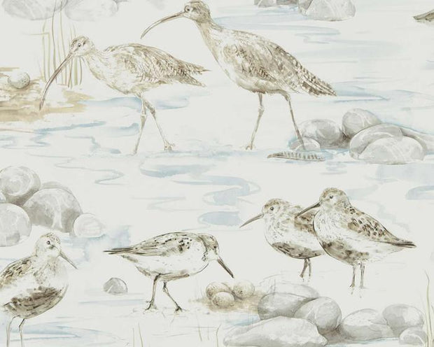 Sanderson Estuary Birds Blue/Grey 216492 Wallpaper