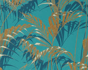 Sanderson Palm House Teal/Gold 216640 Wallpaper