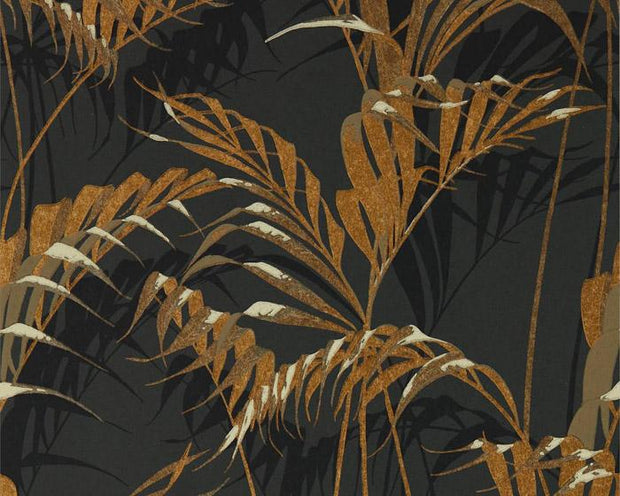 Sanderson Palm House Charcoal/Gold 216641 Wallpaper