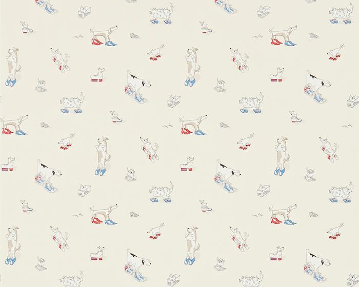 Sanderson Dogs in Clogs Rainbow Brights 214013 Wallpaper