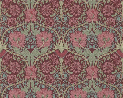 Morris & Co Honeysuckle & Tulip Burgundy/Sage 214703 Wallpaper