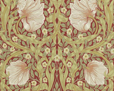 Morris & Co Pimpernel Brick/Olive 210386 Wallpaper