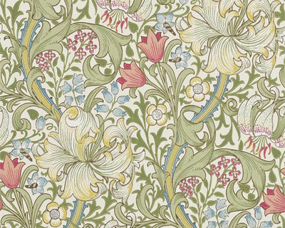 Morris & Co Golden Lily Green/Red 216460 Wallpaper