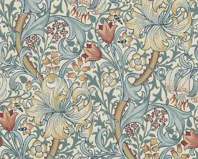 Morris & Co Golden Lily Slate/Manilla 216461 Wallpaper