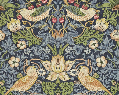 Morris & Co Strawberry Thief Indigo/Mineral 216476 Wallpaper