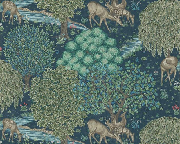 Morris & Co The Brook Dark Blue 216479 Wallpaper