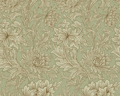 Morris & Co Chrysanthemum Toile Ivory/Gold DMOWCH104 Wallpaper