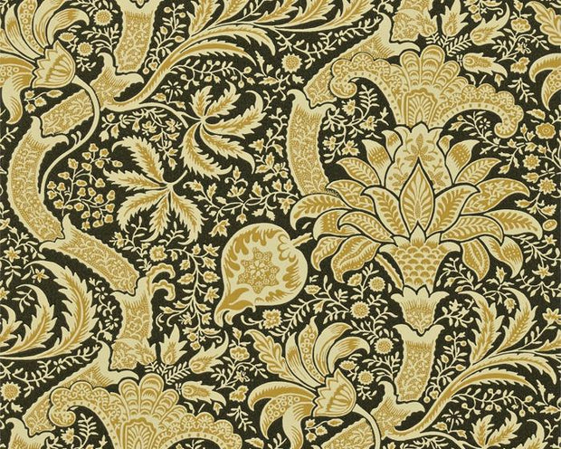 Morris & Co Indian Gold/Black DMOWIN101 Wallpaper