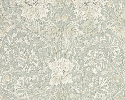 Morris & Co Pure Honeysuckle & Tulip Grey Blue 216525 Wallpaper