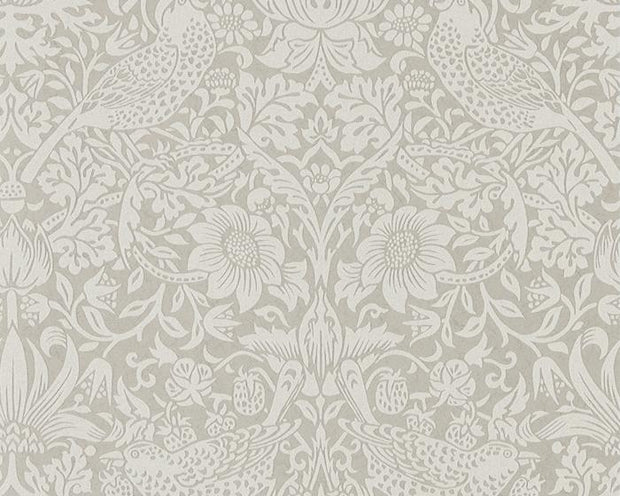 Morris & Co Strawberry Thief Silver/Stone 216017 Wallpaper
